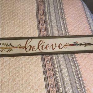 Believe arrow wall art